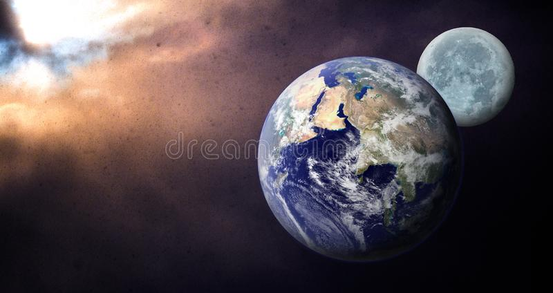 Earth and Moon under dark overcast sky lit by Sun concept royalty free stock photography