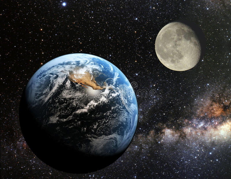 Earth and moon view from the space. Earth and moon from space at night royalty free stock photos