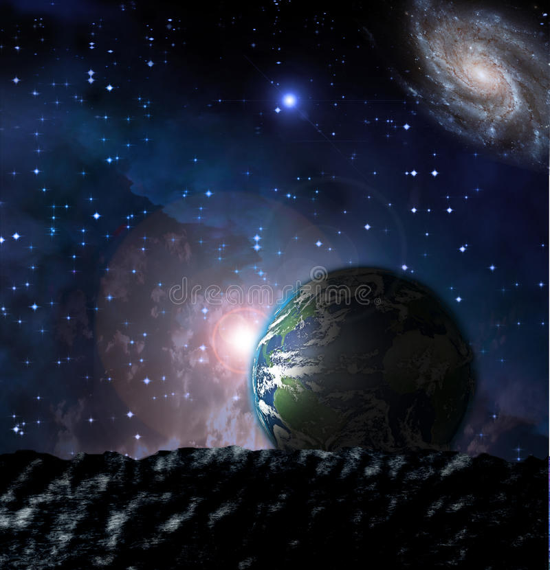 Earth From moonscape stock photography