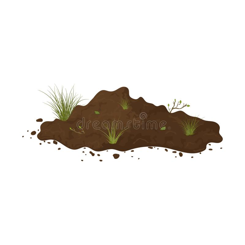 Earth mound. Ground with tuffet and branches with leaves. Illustration of landscape, nature, soil, farming. Colored flat icon,. Cartoon vector design stock illustration