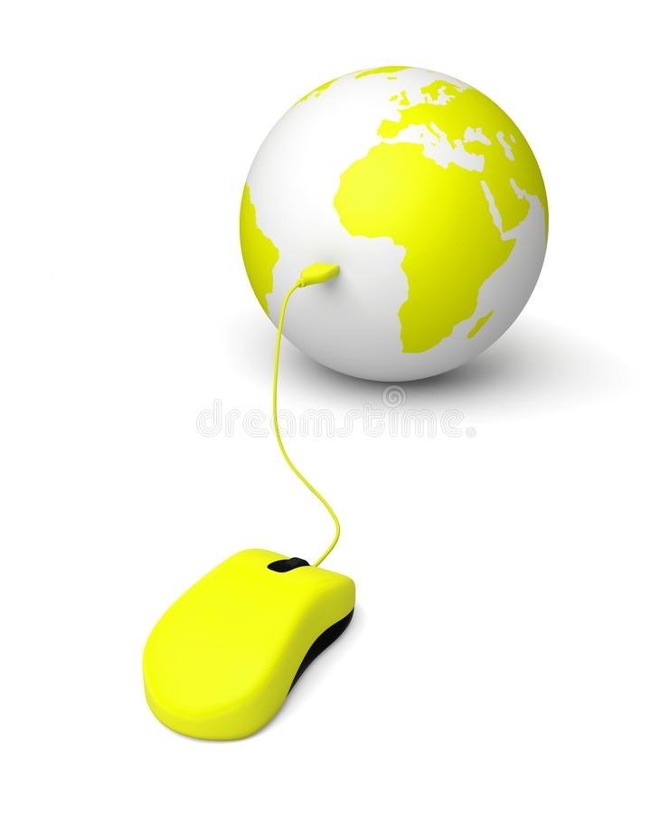 Earth mouse internet shopping delivering online royalty free stock image