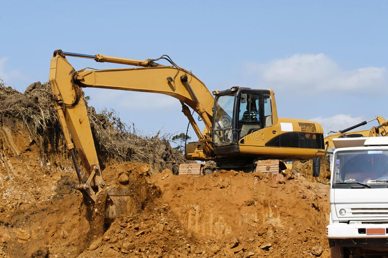 Download Earth mover and truck stock image. Image of digger, stick - 23540069