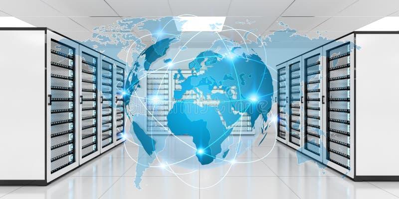 Earth network flying over server room data center 3D rendering stock illustration
