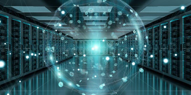 Earth network flying over server room data center 3D rendering. Digital white Earth network flying over server room data center 3D rendering vector illustration