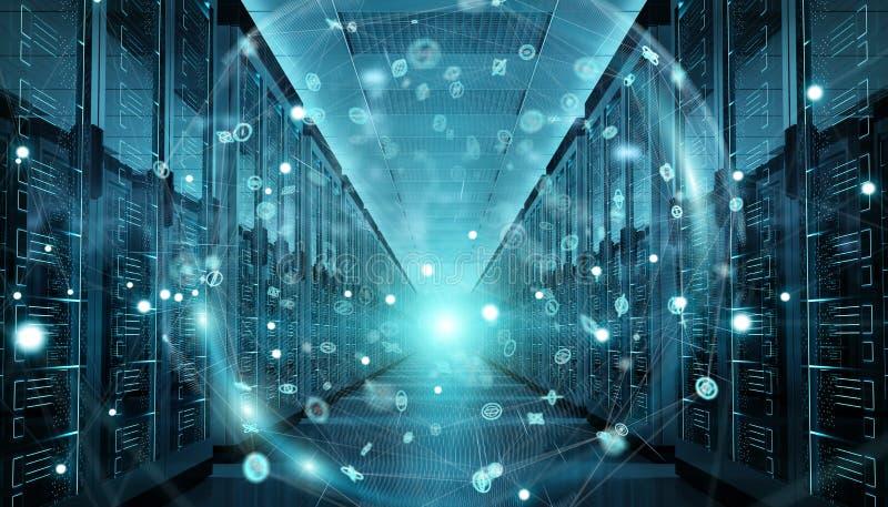 Earth network flying over server room data center 3D rendering. Digital white Earth network flying over server room data center 3D rendering stock illustration