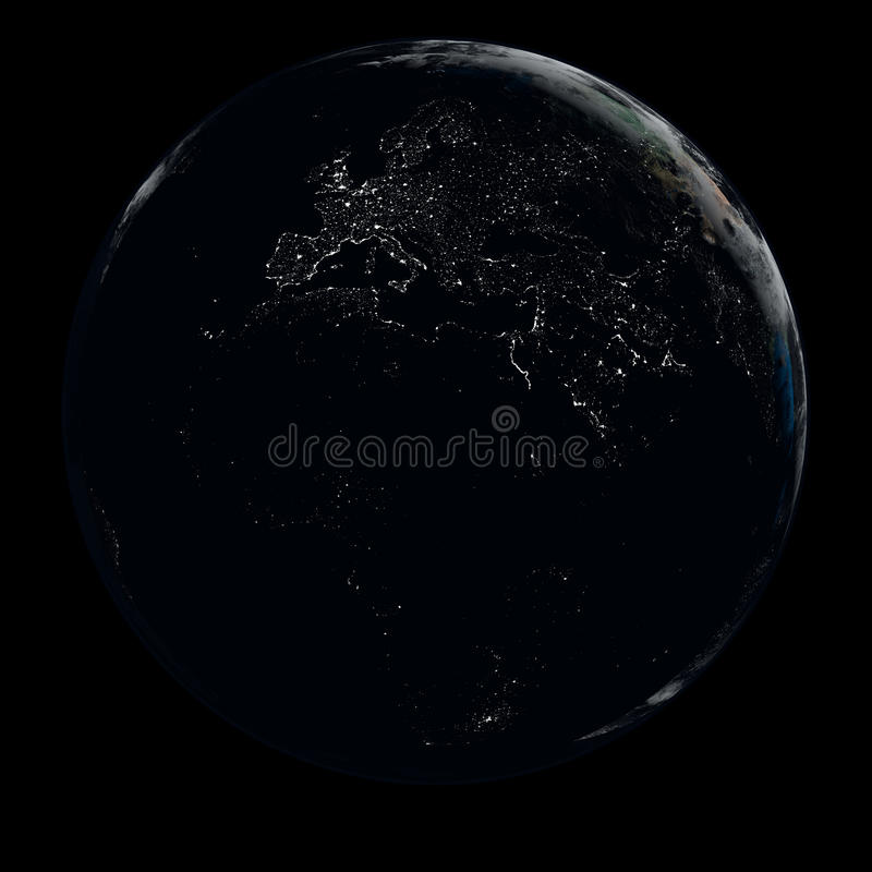 Earth at night stock illustration