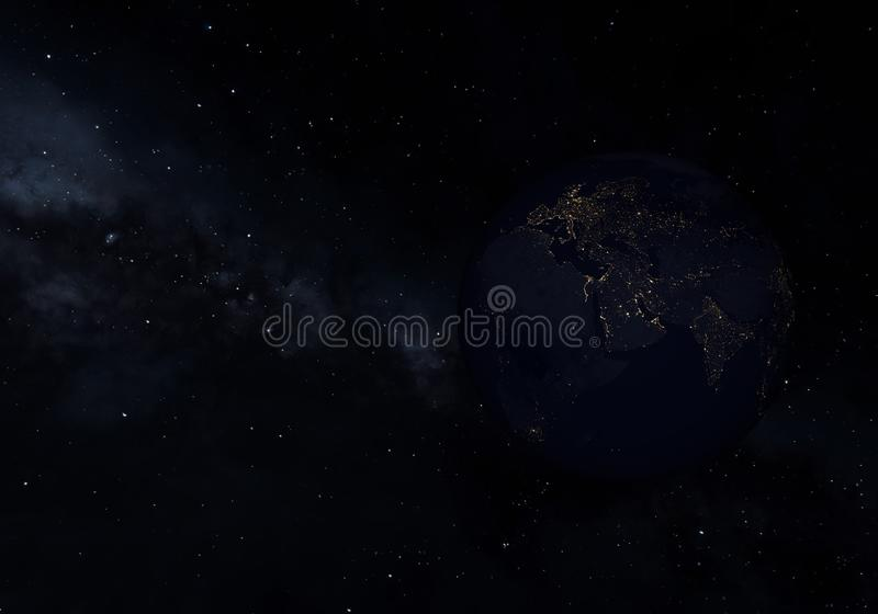 Earth at night, city lights from orbit. 3D illustration.  royalty free illustration