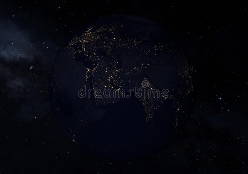 Earth at night, city lights from orbit. 3D illustration.  stock illustration