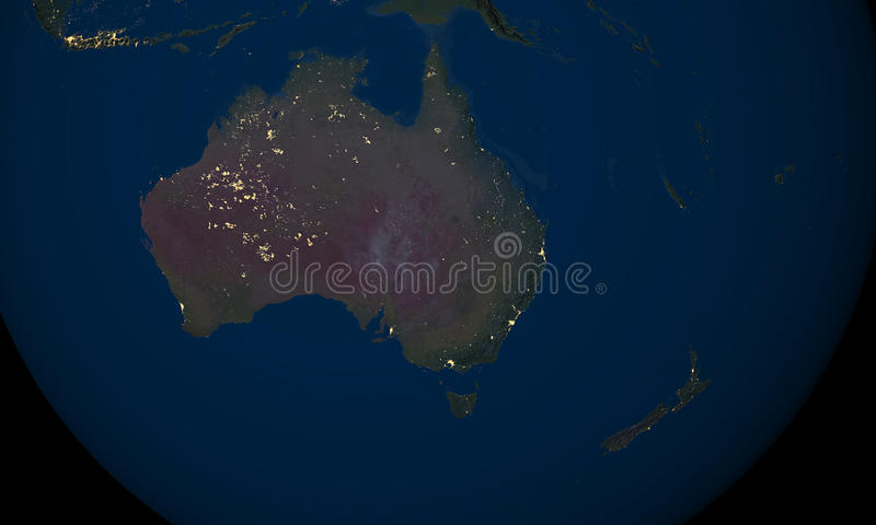 Download Earth At Night Over Australia Stock Illustration - Image: 33064735
