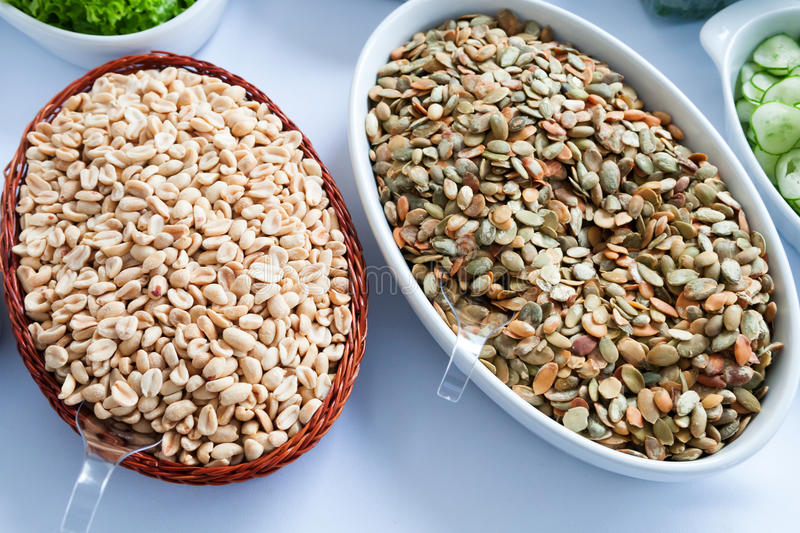 Earth Nuts And Pumpkin Seeds Stock Photo