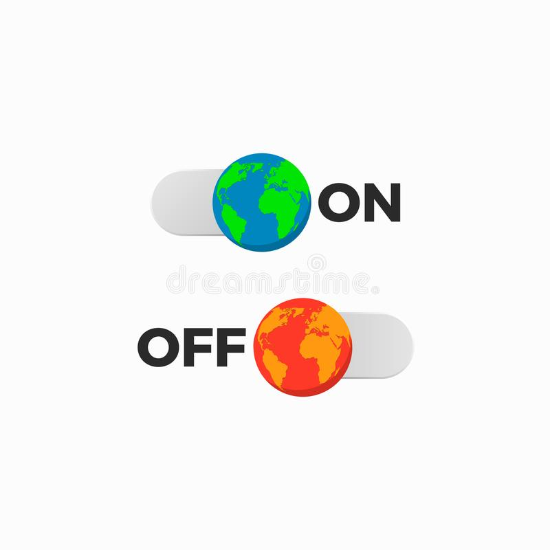 Earth off on slider. Save world environmental energy icon royalty free illustration