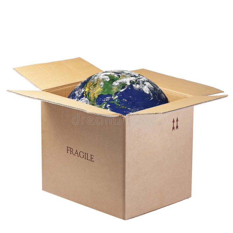 Earth Open Box Isolated Fragile stock photography