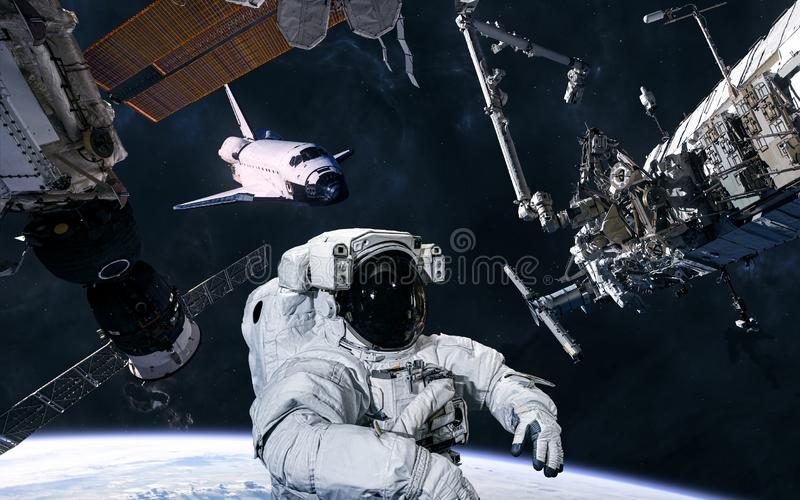 Earth orbit. Astronaut, ISS, space shuttle. Solar system. Science fiction. Elements of this image furnished by NASA stock photos