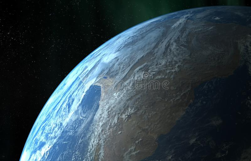Earth orbit. Earth close up view in the space stock illustration