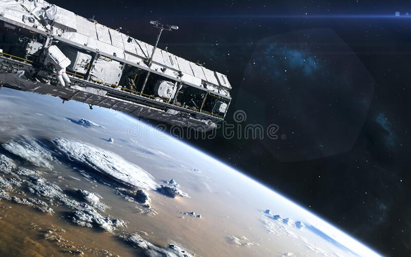 Earth orbit. ISS. Solar system. Science fiction. Elements of this image furnished by NASA stock photos