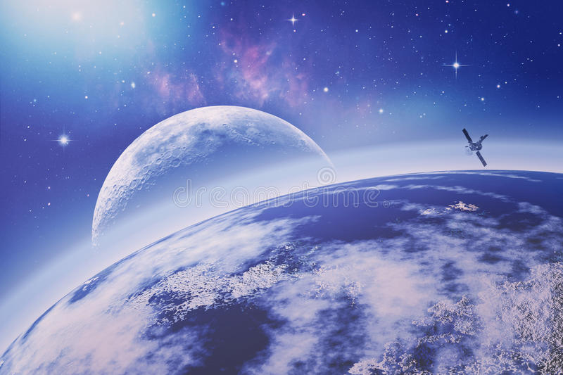 On the Earth orbit. Universe. Abstract science backgrounds. NASA. Imagery used stock photos