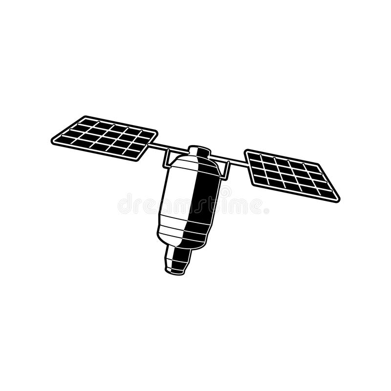 Earth orbital satellite - artificial outer space station in black and white colors. stock illustration