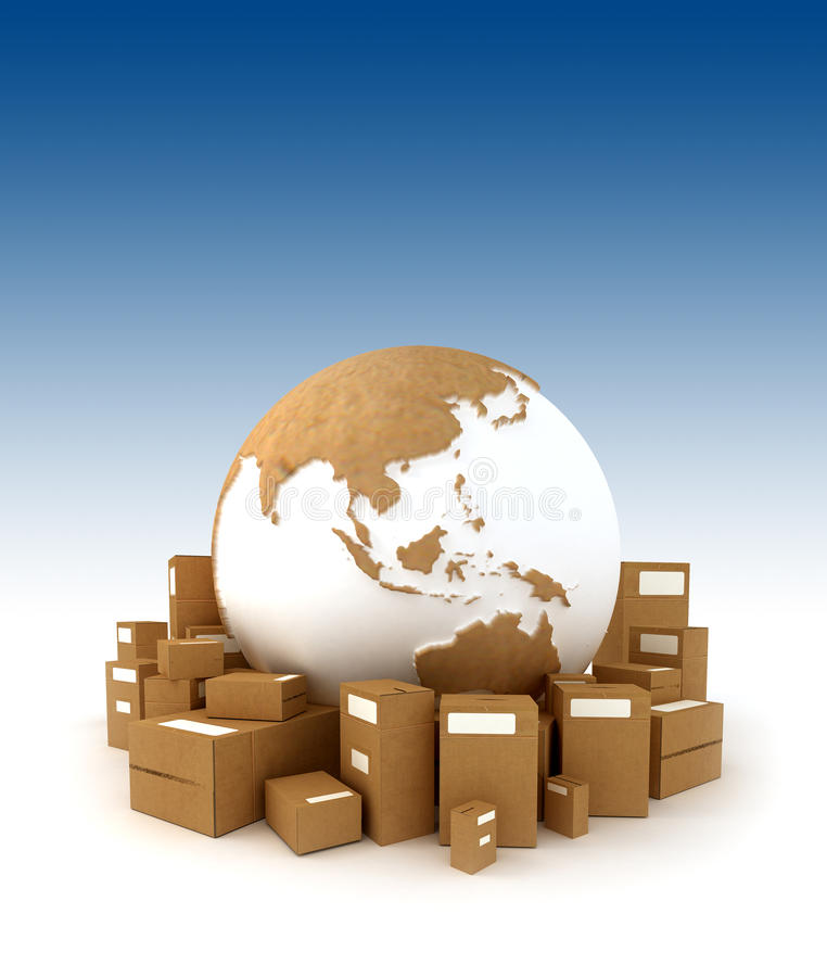 Download The Earth Oriented To Asia Surrounded By Packages Stock Photo - Image: 12049634