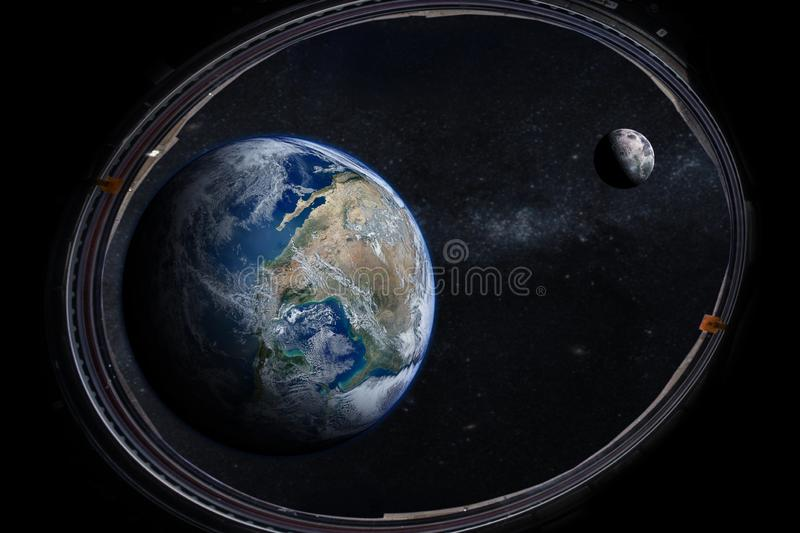 Earth in the outer space with beautiful moon from porthole. stock photo