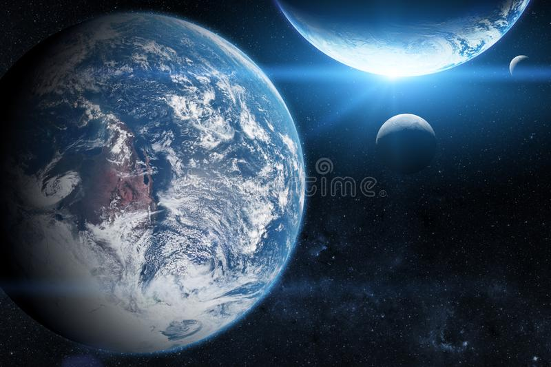 Earth in the outer space with beautiful planet. Blue sunrise. Elements of this image furnished by NASA royalty free stock photography