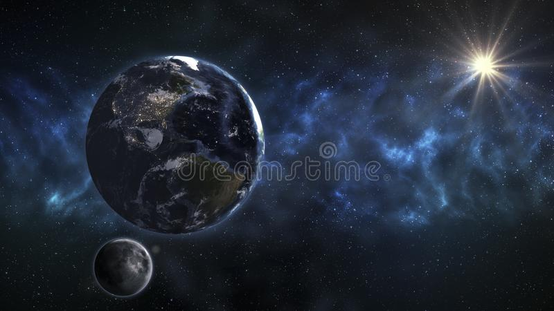 Earth in the outer space with beautiful sunrise. Elements of this image furnished by NASA.. vector illustration