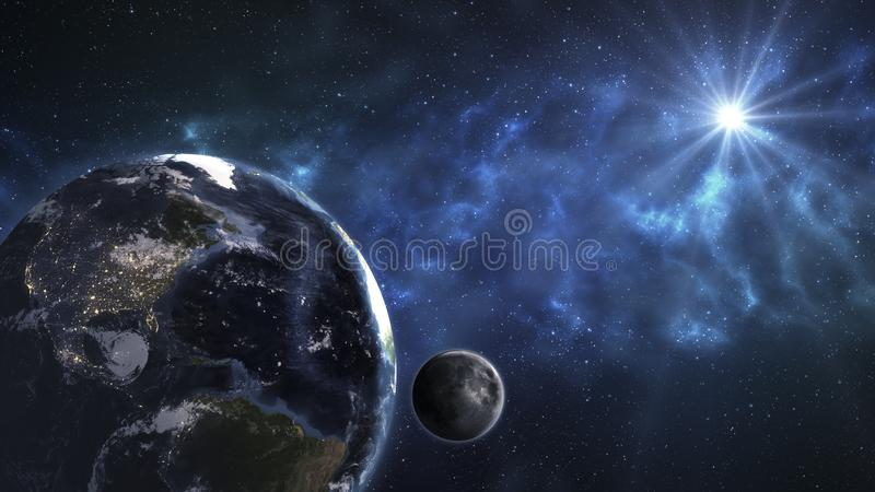 Earth in the outer space with beautiful sunrise. Elements of this image furnished by NASA. royalty free illustration