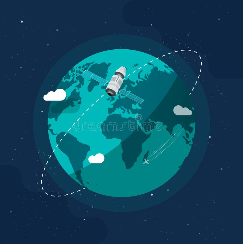 Earth in outer space vector illustration, flat cartoon satellite space ship flying around planet world, orbit station stock illustration