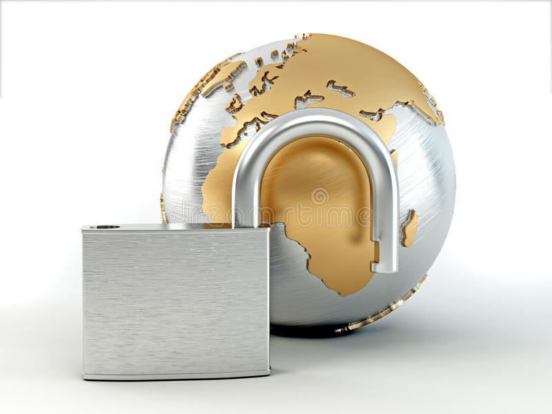 Earth with padlock royalty free illustration