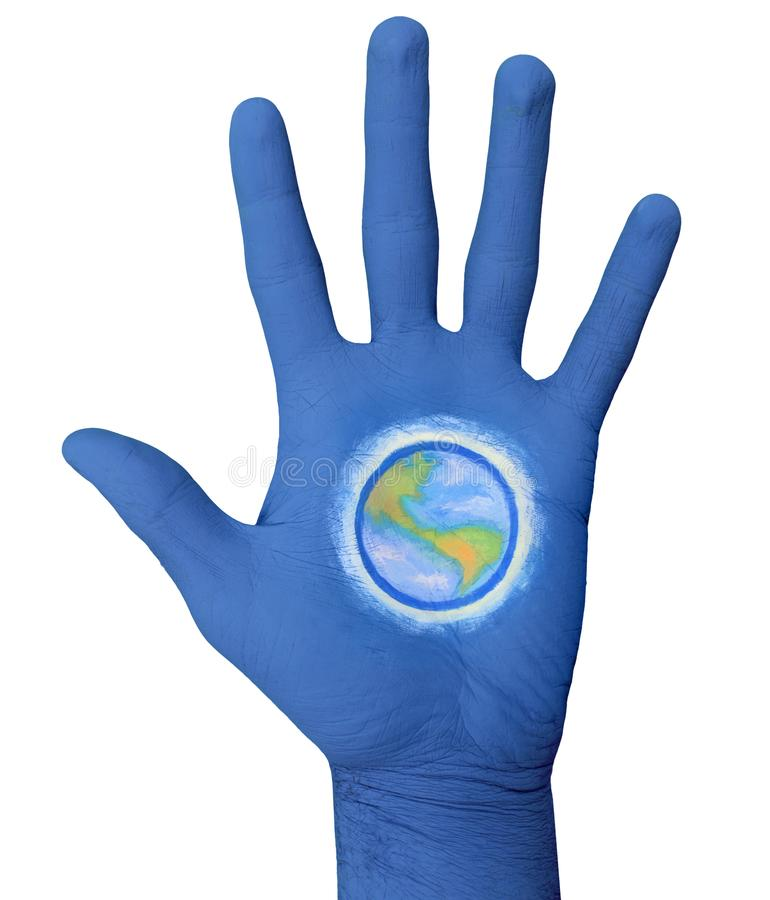Earth In The Palm Of Painted Hand. Photo royalty free stock photos