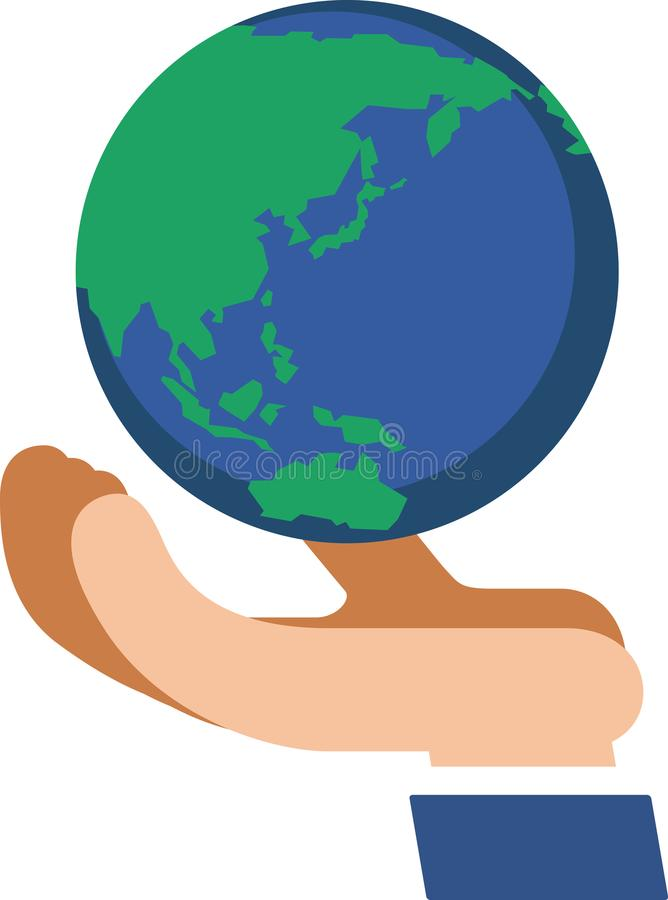 Earth on the palm. There is the earth on the palm. Illustration for environmental problems etc royalty free illustration