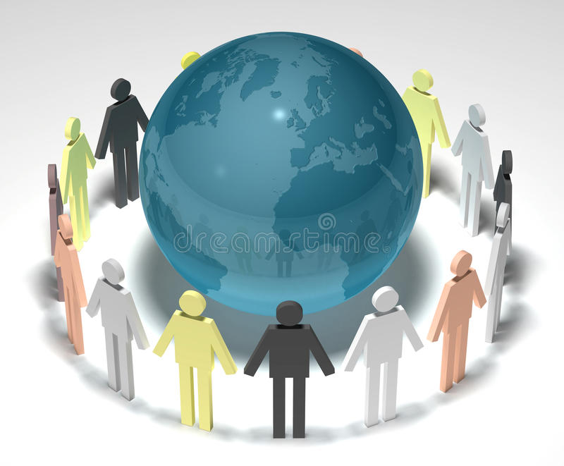 Earth and people 3D royalty free illustration