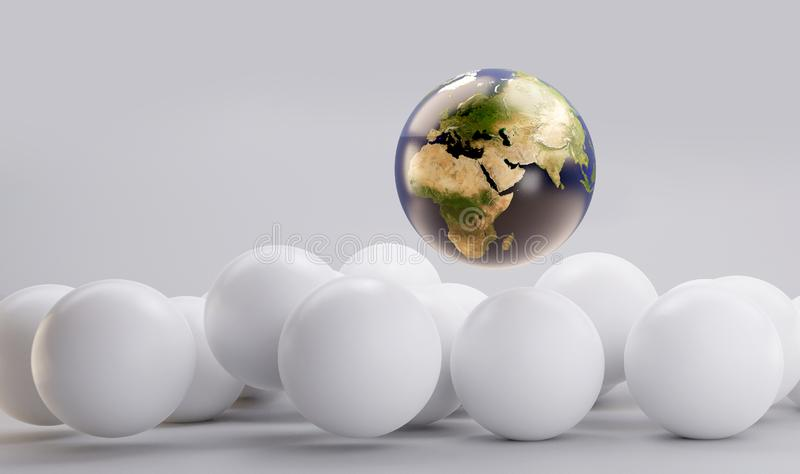 Earth and pile of white balls 3d-illustration background stock illustration