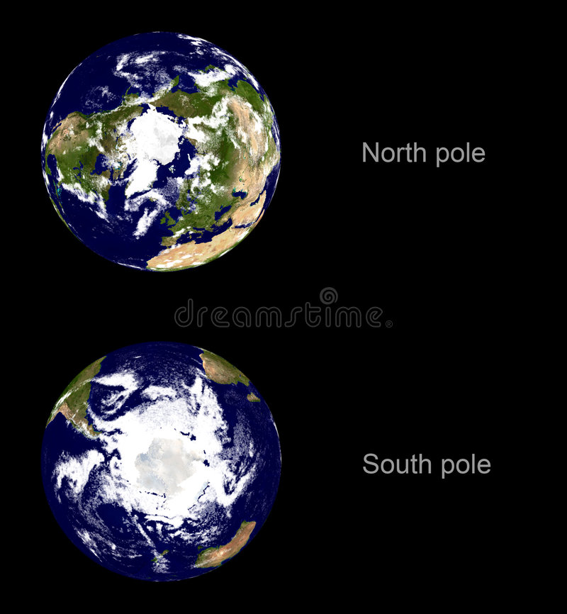 Earth planet, both poles vector illustration