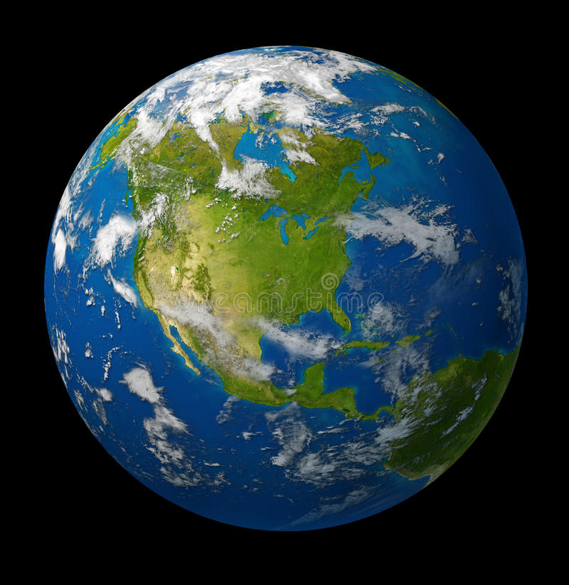 Earth planet featuring North america on black stock illustration