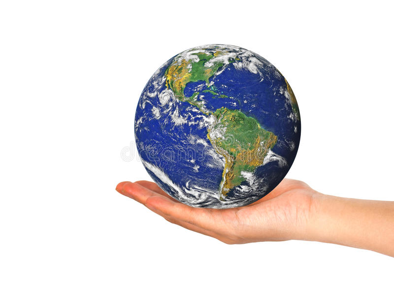 Earth planet in female hand isolated on white stock images