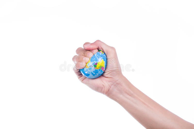 Earth planet in female hand stock images