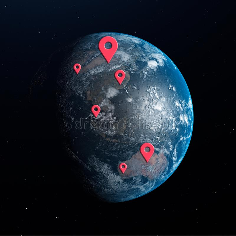 Earth planet with geo pins over it. 3d illustration royalty free illustration