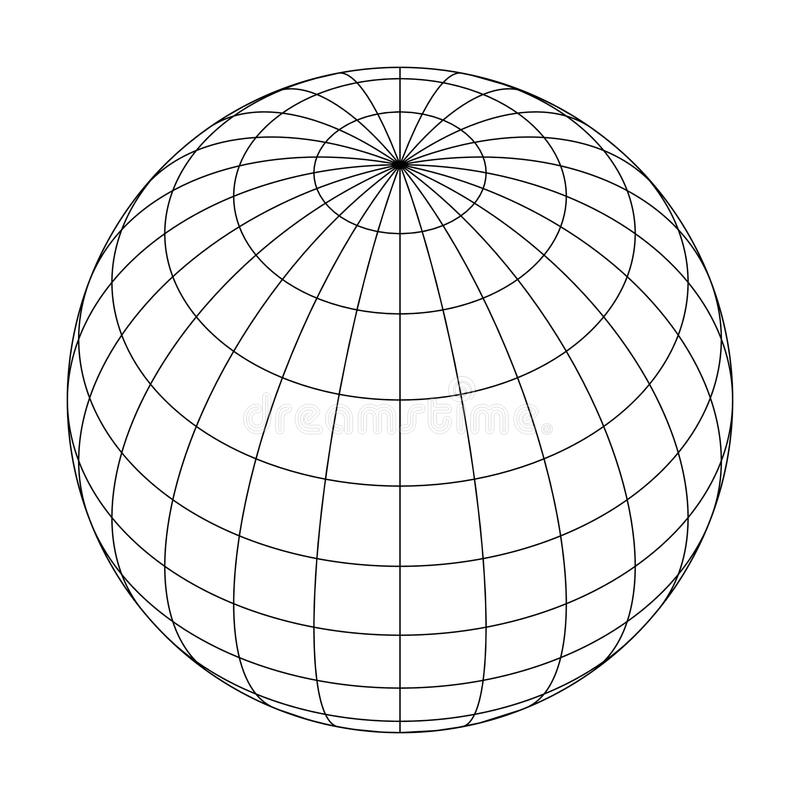 Earth planet globe grid of meridians and parallels, or latitude and longitude. 3D vector illustration vector illustration