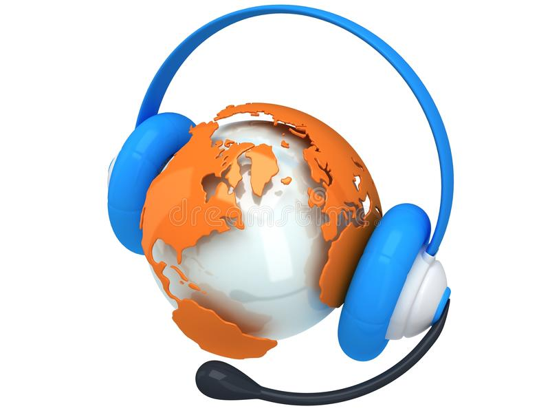 Earth planet globe with headset. 3D render. royalty free illustration