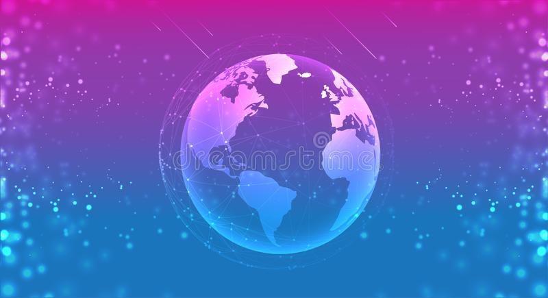 Earth planet globe in the space purple blue. connections systems line composition around earth concept vector illustration