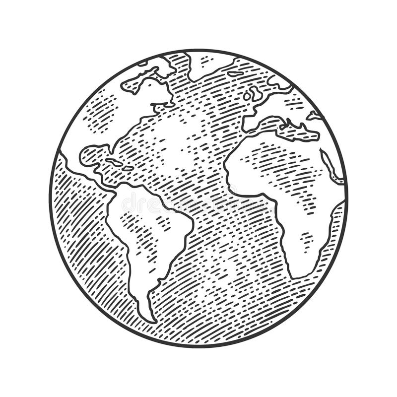 Earth planet globe. Vector black vintage engraving illustration. Isolated on a white background. For web, poster, info graphic stock illustration