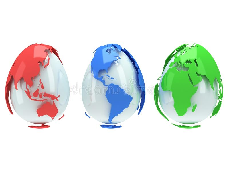 Earth planet globes like eggs. 3D render. royalty free illustration