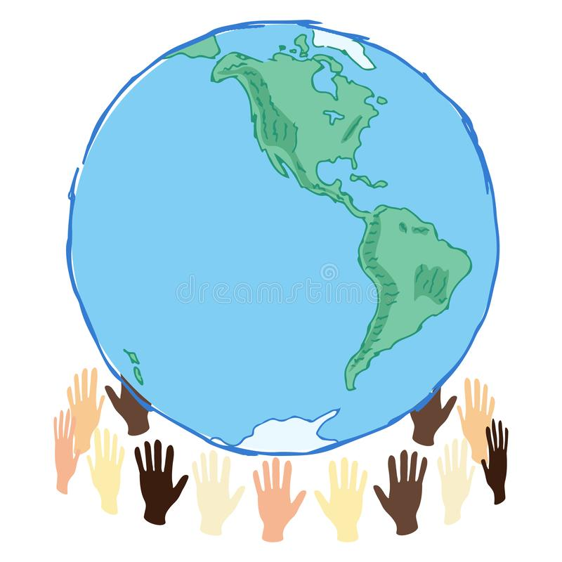 Earth planet in hands western hemisphere, save the planet concept art, waste and recycle problem, editable vector illustration. Human care stock illustration