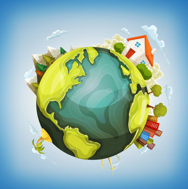 Earth Planet With Home, Nature And City Around stock illustration