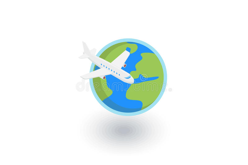Earth Planet. Plane trip around the world isometric flat icon. 3d vector. Colorful illustration. Pictogram isolated on white background royalty free illustration