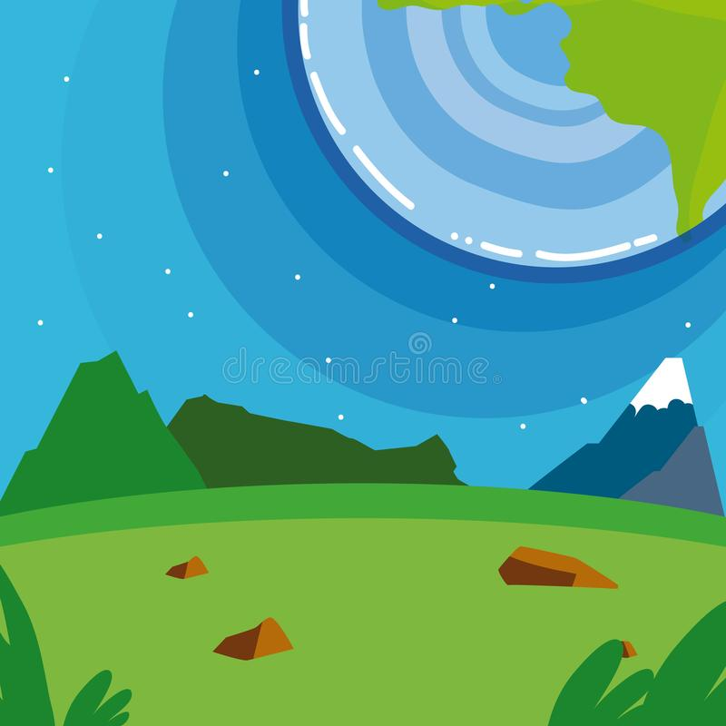 Earth planet seen from ground. Scenery cartoon vector illustration graphic design stock illustration