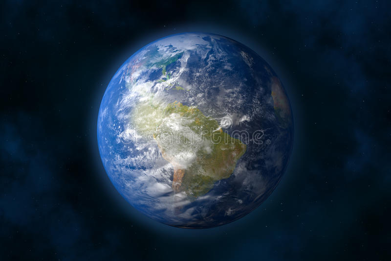 Earth. Planet earth in space. Stars and Nebula (3d image royalty free illustration