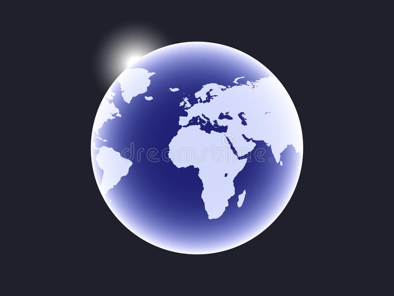 Earth is a planet in space and a sunbeam. Vector vector illustration