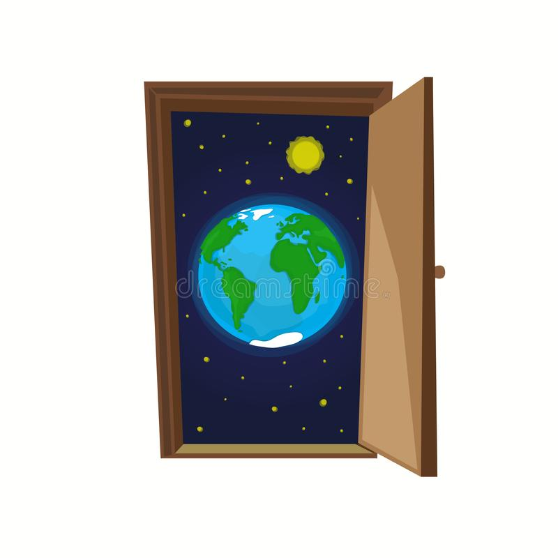 Earth planet with stars and sun inside door. stock illustration