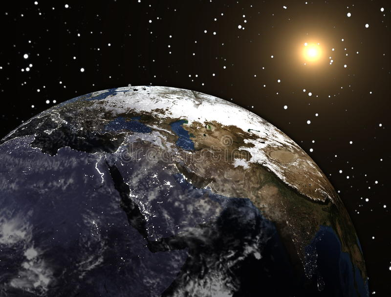 Earth planet with sun in the space and stars. Rendering, illustration stock illustration